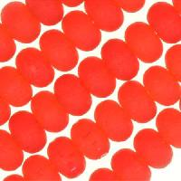 Cultured Sea Glass Bead Rondelle 4x2.5mm - Cherry Red