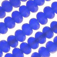 Cultured Sea Glass Bead Rondelle 4x2.5mm - Royal Blue