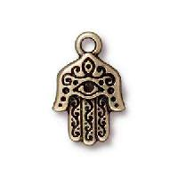 TierraCast Charm Hamsa Hand - Antique Brass