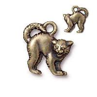 TierraCast Charm Halloween Scary Cat - Antique Brass