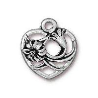 TierraCast Charm Floral Heart - Silver Plate