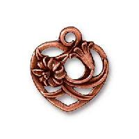 TierraCast Charm Floral Heart - Antique Copper