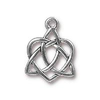 TierraCast Charm Celtic Open Heart - Silver Plated