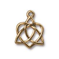 TierraCast Charm Celtic Open Heart - Antique Gold