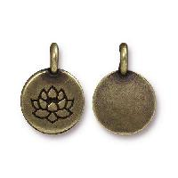 TierraCast Charm Lotus - Antique Brass
