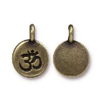 TierraCast Charm Om - Antique Brass