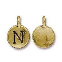 TierraCast Charm Letter N - Antique Gold