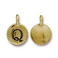 TierraCast Charm Letter Q - Antique Gold