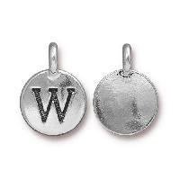 TierraCast Charm Letter W - Silver Plated