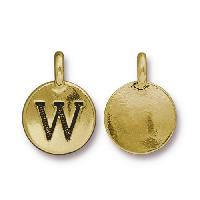 TierraCast Charm Letter W - Antique Gold