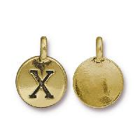 TierraCast Charm Letter X - Antique Gold