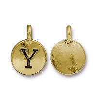 TierraCast Charm Letter Y - Antique Gold
