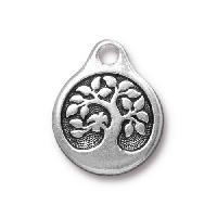 TierraCast Charm Bird in a Tree - Silver Plated