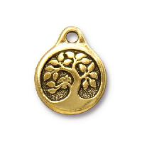 TierraCast Charm Bird in a Tree - Antique Gold