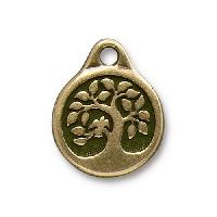 TierraCast Charm Bird in a Tree - Antique Brass