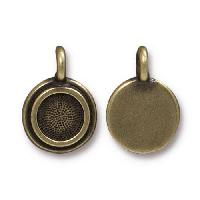 TierraCast Charm Bezel Stepped - Antique Brass