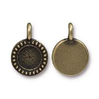 TierraCast Charm Bezel Beaded - Antique Brass