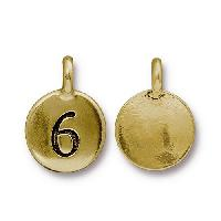 TierraCast Charm Number 6 - Antique Gold