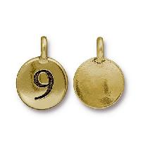 TierraCast Charm Number 9 - Antique Gold