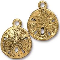 TierraCast Charm Sand Dollar - Antique Gold