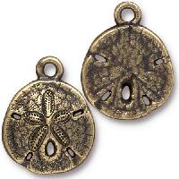 TierraCast Charm Sand Dollar - Antique Brass