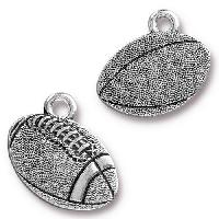 TierraCast Charm Football - Silver Plated
