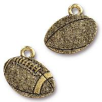 TierraCast Charm Football - Antique Gold