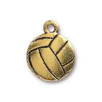 TierraCast Charm Volleyball - Antique Gold