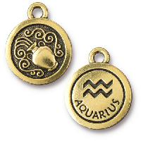 TierraCast Charm Aquarius - Antique Gold