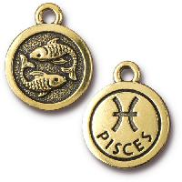 TierraCast Charm Pisces - Antique Gold