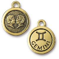 TierraCast Charm Gemini - Antique Gold