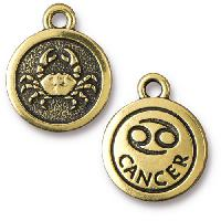 TierraCast Charm Cancer - Antique Gold