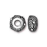 TierraCast Bead Spiral Large Hole - Silver Plate