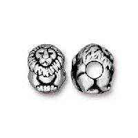 TierraCast Bead Lion Large Hole - Silver Plate