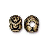 TierraCast Bead Lion Large Hole - Antique Brass