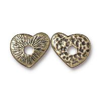 TierraCast Bead Rivetable Heart - Antique Brass