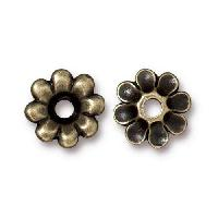 TierraCast Bead Rivetable Flower - Antique Brass