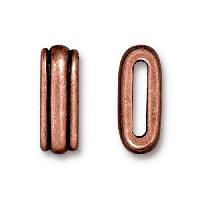 TierraCast 10mm Deco Flat Leather Cord Slider - Antique Copper
