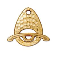 TierraCast Clasp Toggle Hammertone Ellipse - Gold Plated