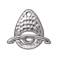 TierraCast Clasp Toggle Hammertone Ellipse - Antique Silver