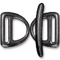 TierraCast Clasp Toggle Slotted D-Ring - Black Plate (2pcs)