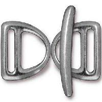 TierraCast Clasp Toggle Slotted D-Ring - Antique Silver (2pcs)