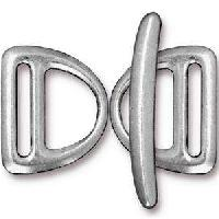 TierraCast Clasp Toggle Slotted D-Ring - Silver Plate (2pcs)