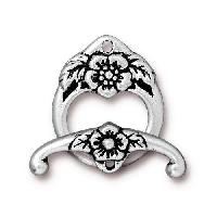 TierraCast Clasp Toggle Floral (2) - Silver Plated