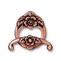 TierraCast Clasp Toggle Floral (2) - Antique Copper