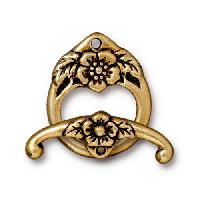 TierraCast Clasp Toggle Floral (2) - Antique Gold