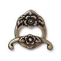 TierraCast Clasp Toggle Floral (2) - Antique Brass