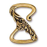 TierraCast Clasp Floral Z Hook - Antique Gold