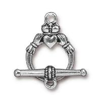 TierraCast Clasp Toggle Claddagh (2) - Silver Plated