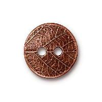 TierraCast Button Round Leaf - Antique Copper